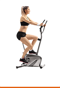 A lady on a cross trainer